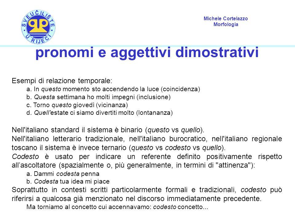 Michele Cortelazzo Morfologia pronomi e aggettivi dimostrativi Esempi di relazione temporale: a. In questo momento sto accendendo la luce (coincidenza