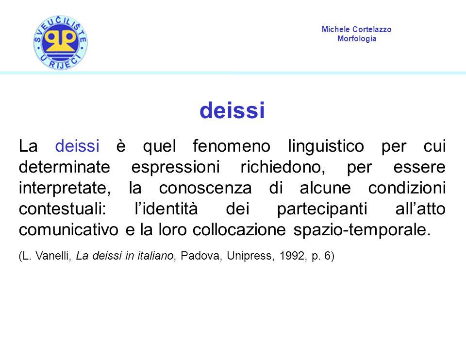 Michele Cortelazzo Morfologia deissi La deissi è quel fenomeno linguistico per cui determinate espressioni richiedono, per essere interpretate, la con