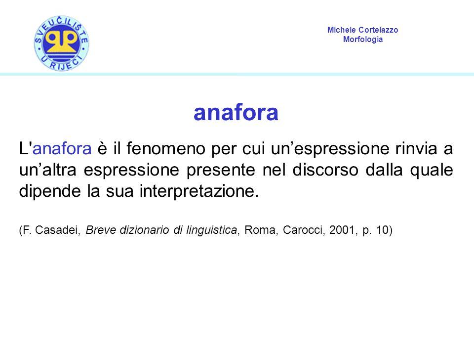 Michele Cortelazzo Morfologia anafora L'anafora è il fenomeno per cui un'espressione rinvia a un'altra espressione presente nel discorso dalla quale d