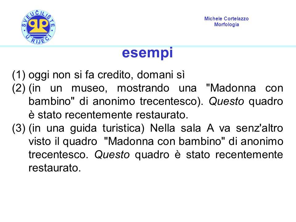 Michele Cortelazzo Morfologia esempi (1)oggi non si fa credito, domani sì (2)(in un museo, mostrando una