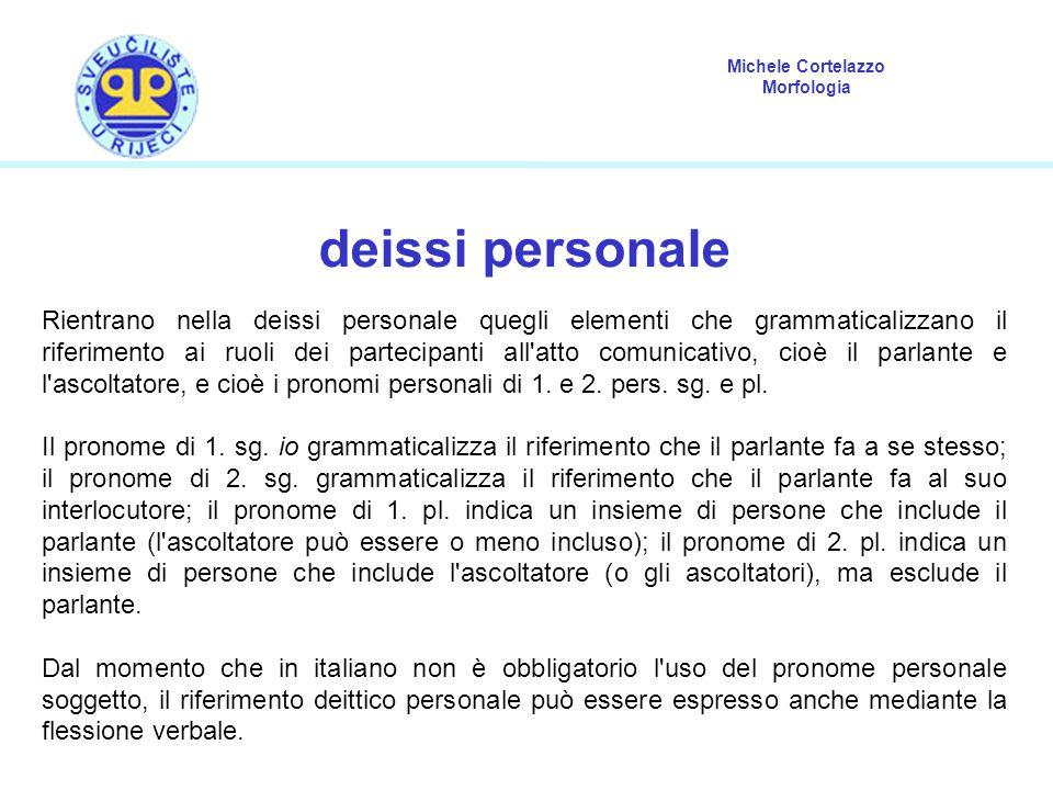 Michele Cortelazzo Morfologia deissi personale Rientrano nella deissi personale quegli elementi che grammaticalizzano il riferimento ai ruoli dei part