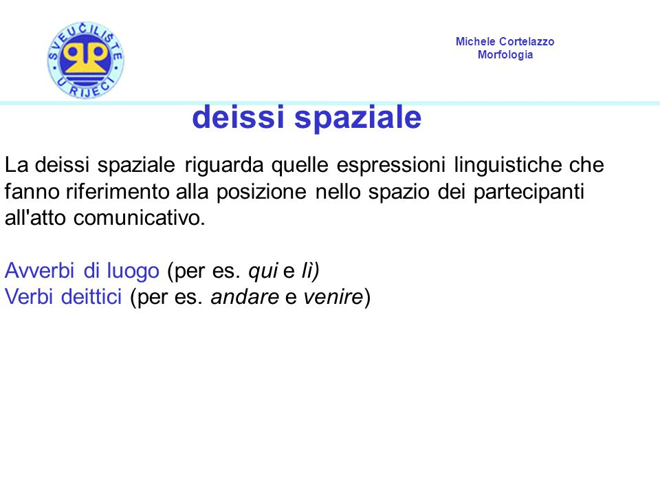 Michele Cortelazzo Morfologia deissi spaziale La deissi spaziale riguarda quelle espressioni linguistiche che fanno riferimento alla posizione nello s