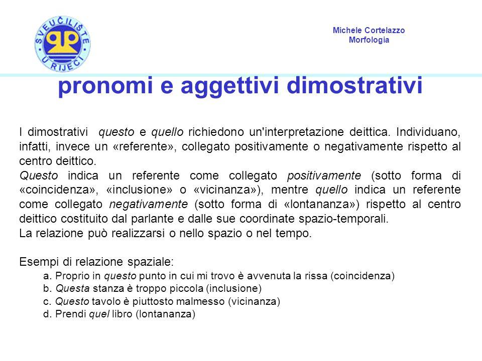 Michele Cortelazzo Morfologia pronomi e aggettivi dimostrativi I dimostrativi questo e quello richiedono un'interpretazione deittica. Individuano, inf