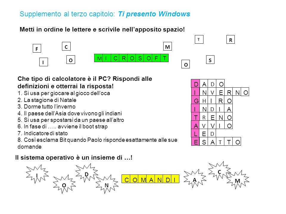 Supplemento al terzo capitolo: Ti presento Windows Unisci i numeri poi scrivi il nome dell'elemento misterioso e colora.