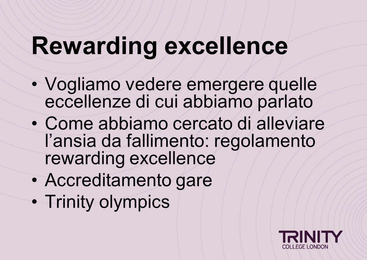 Rewarding excellence Vogliamo vedere emergere quelle eccellenze di cui abbiamo parlato Come abbiamo cercato di alleviare l'ansia da fallimento: regolamento rewarding excellence Accreditamento gare Trinity olympics