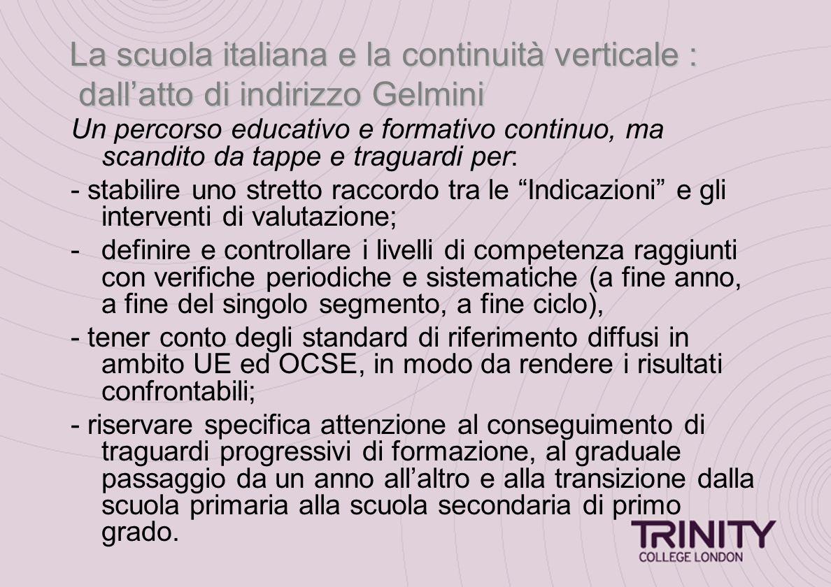 La scuola italiana e la continuità verticale : dall'atto di indirizzo Gelmini Un percorso educativo e formativo continuo, ma scandito da tappe e tragu