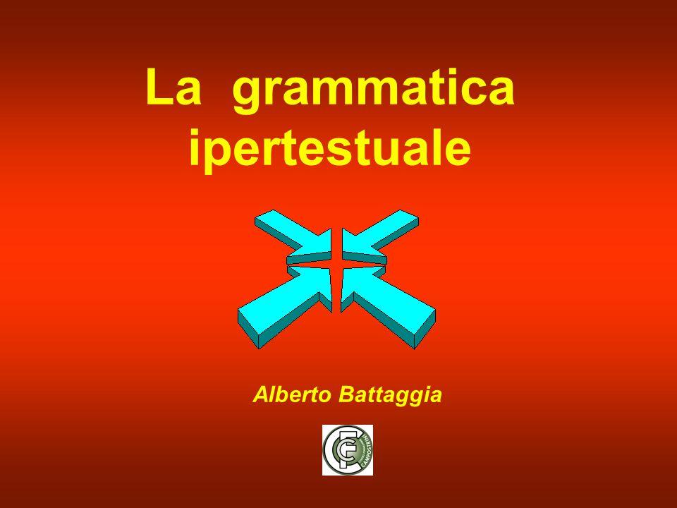 alberto battaggia La grammatica ipertestuale Considerato come linguaggio , l'ipertesto ha una sua grammatica La Grammatica ipertestuale si divide in  morfologia  sintassi  semantica  pragmatica