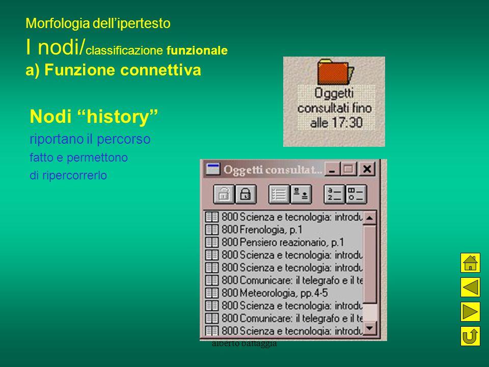 """alberto battaggia Morfologia dell'ipertesto I nodi/ classificazione funzionale a) Funzione connettiva Nodi """"history"""" riportano il percorso fatto e per"""