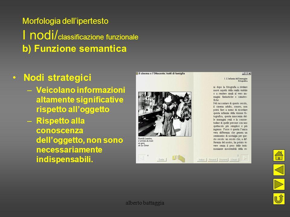 alberto battaggia Morfologia dell'ipertesto I nodi/ classificazione funzionale b) Funzione semantica Nodi strategici –Veicolano informazioni altamente