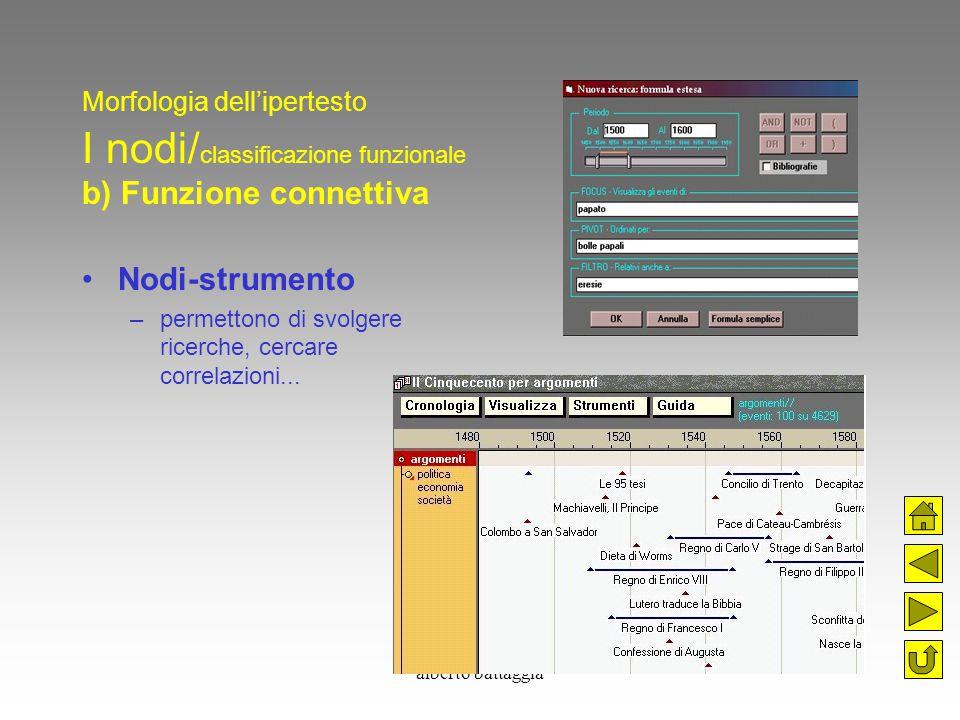 alberto battaggia Morfologia dell'ipertesto I nodi/ classificazione funzionale b) Funzione connettiva Nodi-strumento –permettono di svolgere ricerche,