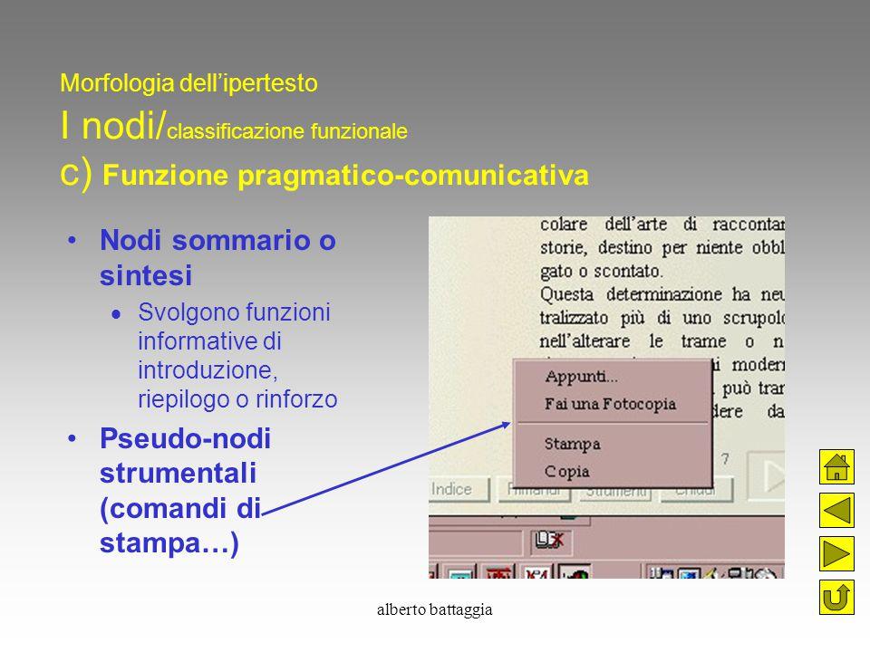 alberto battaggia Morfologia dell'ipertesto I nodi/ classificazione funzionale c) Funzione pragmatico-comunicativa Nodi sommario o sintesi  Svolgono
