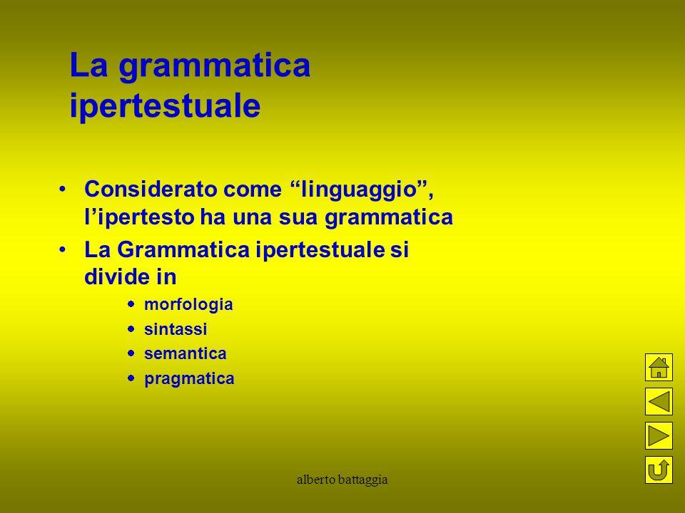 """alberto battaggia La grammatica ipertestuale Considerato come """"linguaggio"""", l'ipertesto ha una sua grammatica La Grammatica ipertestuale si divide in"""