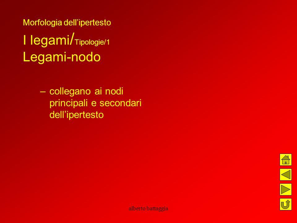 alberto battaggia Morfologia dell'ipertesto I legami / Tipologie/1 Legami-nodo –collegano ai nodi principali e secondari dell'ipertesto