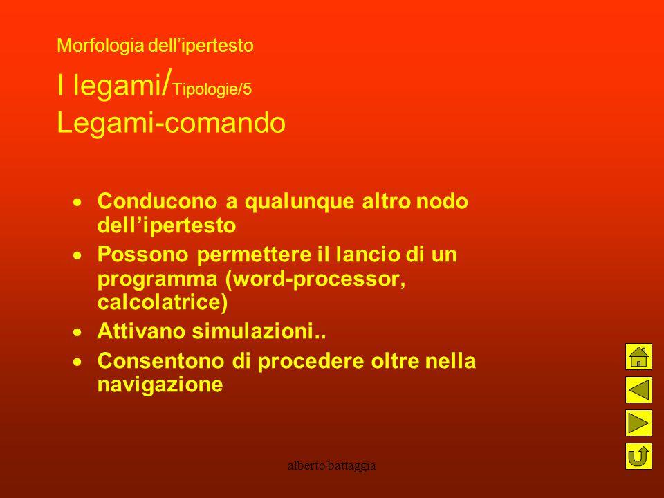 alberto battaggia Morfologia dell'ipertesto I legami / Tipologie/5 Legami-comando  Conducono a qualunque altro nodo dell'ipertesto  Possono permette