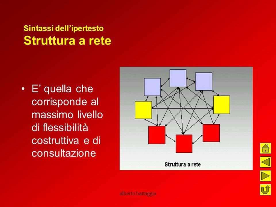 alberto battaggia Sintassi dell'ipertesto Struttura a rete E' quella che corrisponde al massimo livello di flessibilità costruttiva e di consultazione