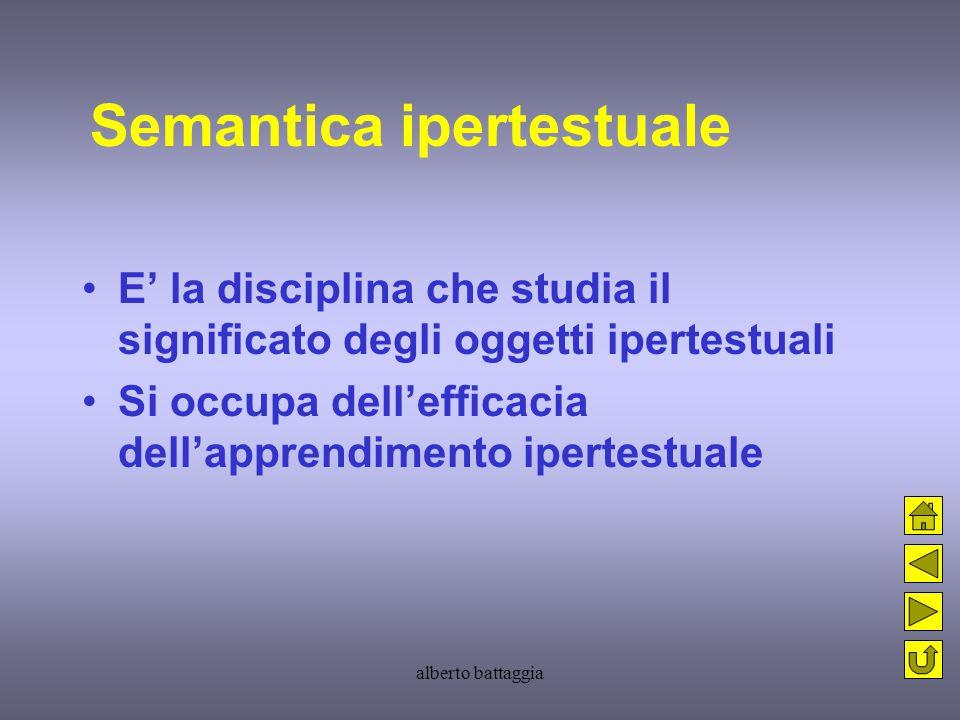 alberto battaggia Semantica ipertestuale E' la disciplina che studia il significato degli oggetti ipertestuali Si occupa dell'efficacia dell'apprendim
