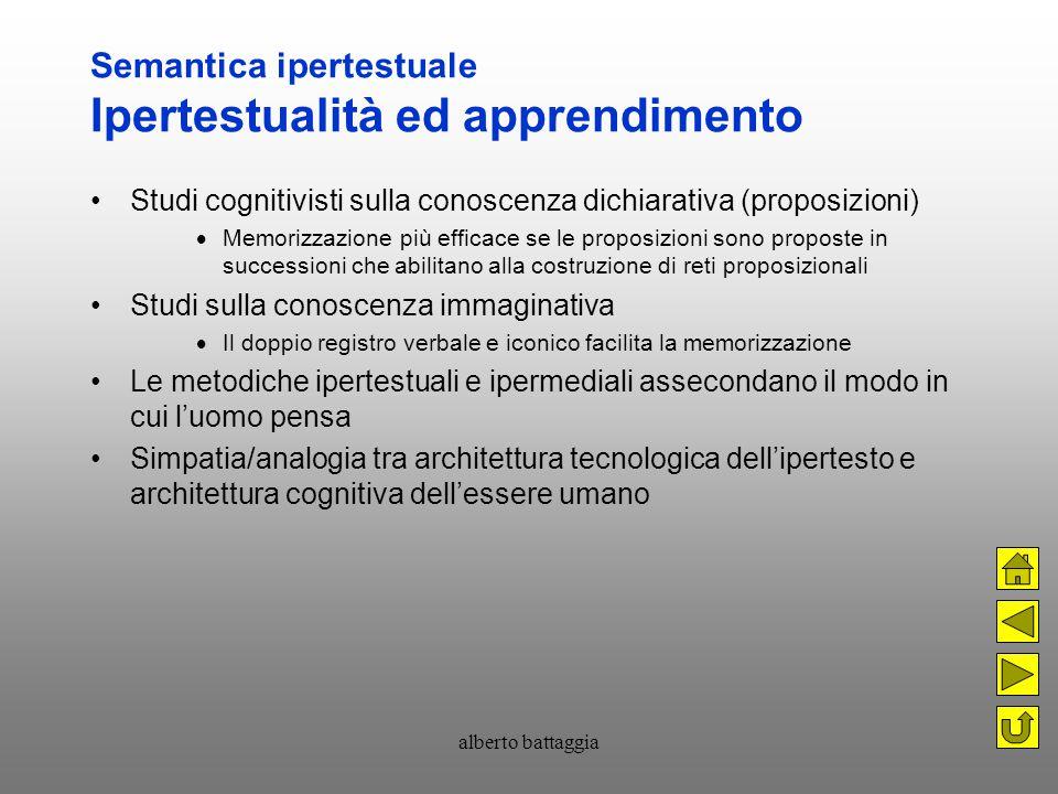 alberto battaggia Semantica ipertestuale Ipertestualità ed apprendimento Studi cognitivisti sulla conoscenza dichiarativa (proposizioni)  Memorizzazi