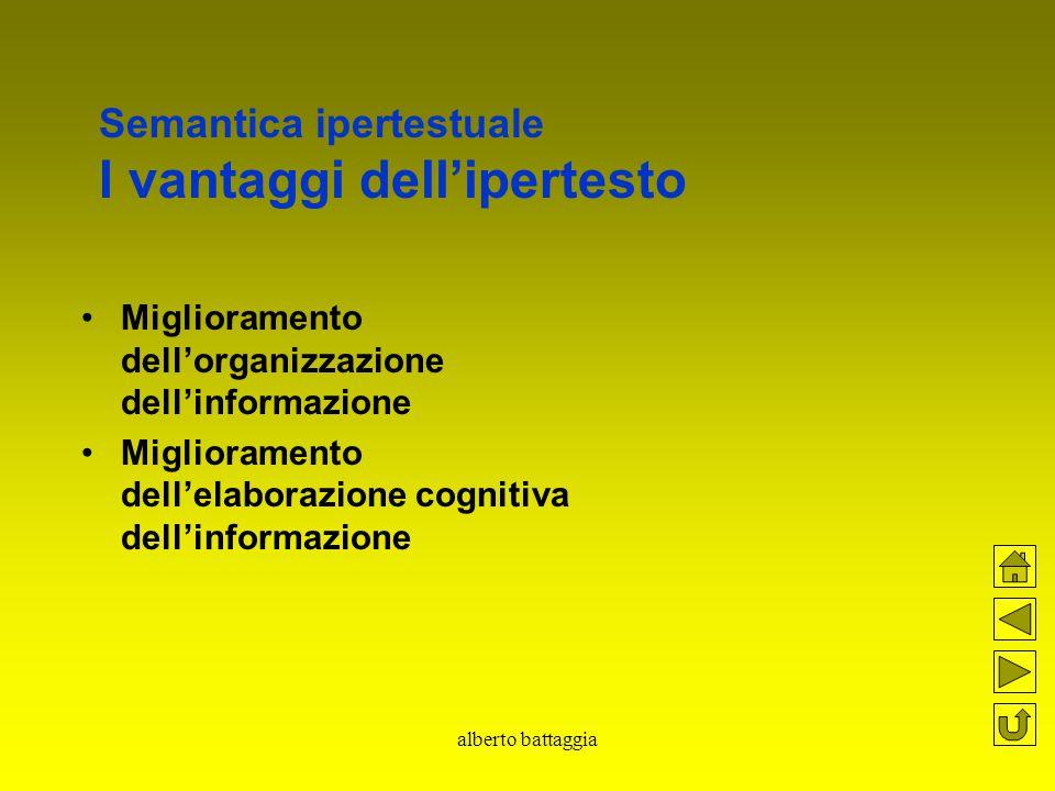 alberto battaggia Semantica ipertestuale I vantaggi dell'ipertesto Miglioramento dell'organizzazione dell'informazione Miglioramento dell'elaborazione