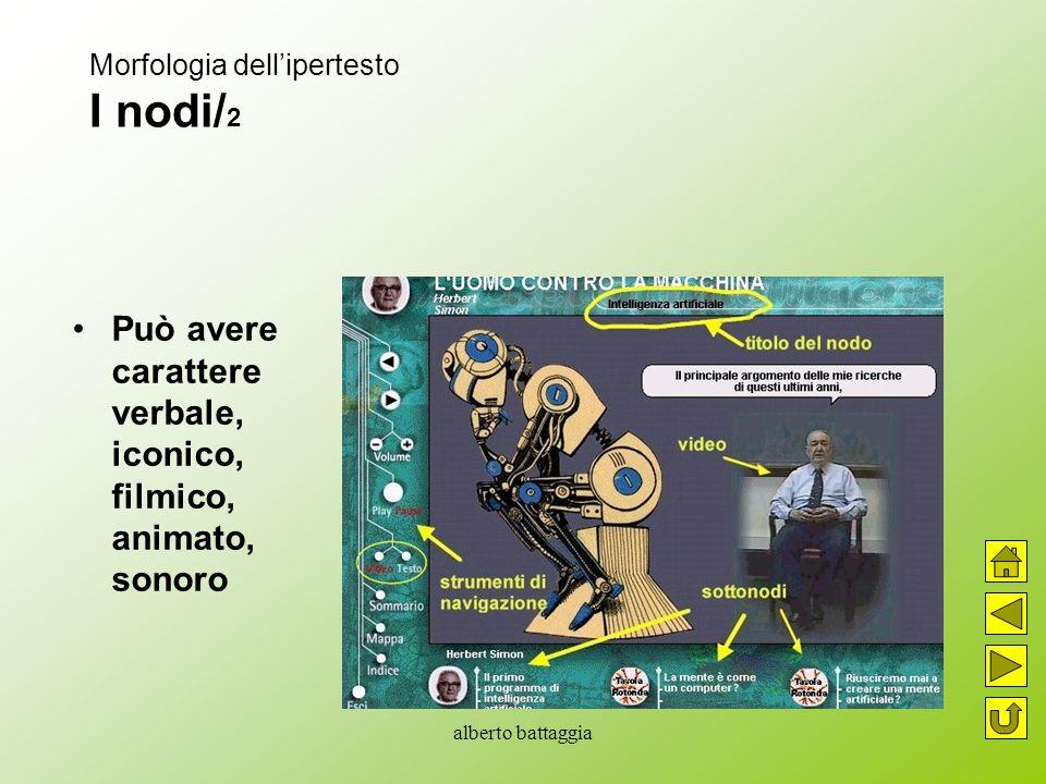 alberto battaggia Morfologia dell'ipertesto I nodi/ 2 Può avere carattere verbale, iconico, filmico, animato, sonoro