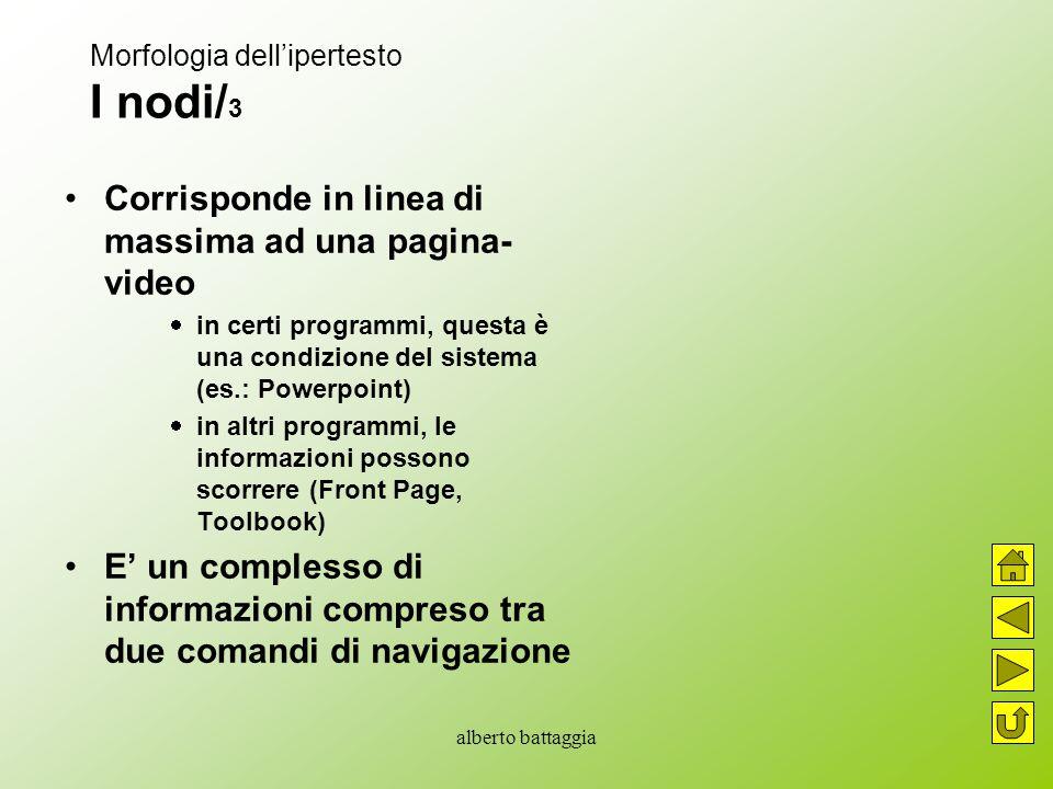 alberto battaggia Morfologia dell'ipertesto I nodi/ 3 Corrisponde in linea di massima ad una pagina- video  in certi programmi, questa è una condizio