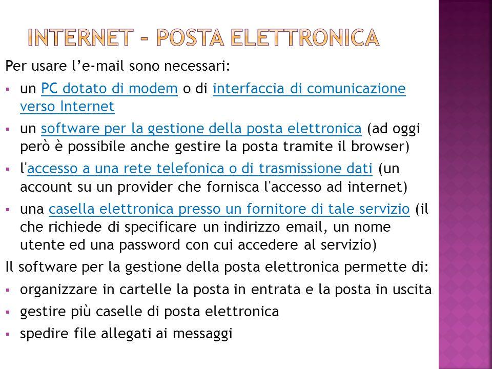 Per usare l'e-mail sono necessari:  un PC dotato di modem o di interfaccia di comunicazione verso Internet  un software per la gestione della posta