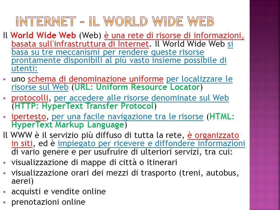 Abbiamo enunciato prima i nomi delle 3 componenti principali del WWW:  URL  HTTP  HTML Vediamo a cosa servono:  URL (acronimo di Uniform Resource Locator) è una sequenza di caratteri che identifica univocamente l indirizzo di una risorsa in Internet, come un documento (pagina web) o un immagine.