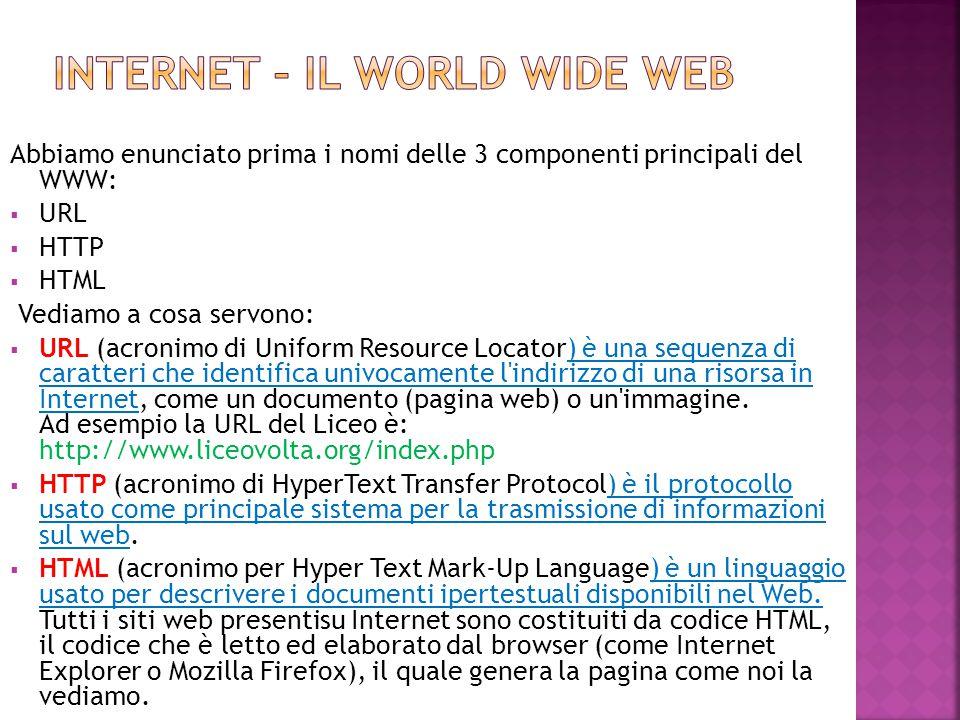 Abbiamo enunciato prima i nomi delle 3 componenti principali del WWW:  URL  HTTP  HTML Vediamo a cosa servono:  URL (acronimo di Uniform Resource