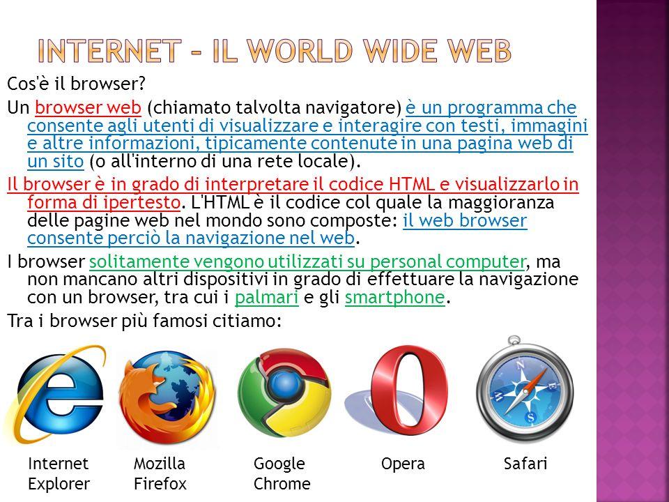 Cos'è il browser? Un browser web (chiamato talvolta navigatore) è un programma che consente agli utenti di visualizzare e interagire con testi, immagi