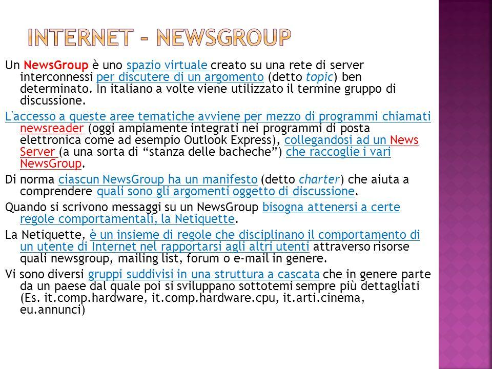 Un NewsGroup è uno spazio virtuale creato su una rete di server interconnessi per discutere di un argomento (detto topic) ben determinato. In italiano
