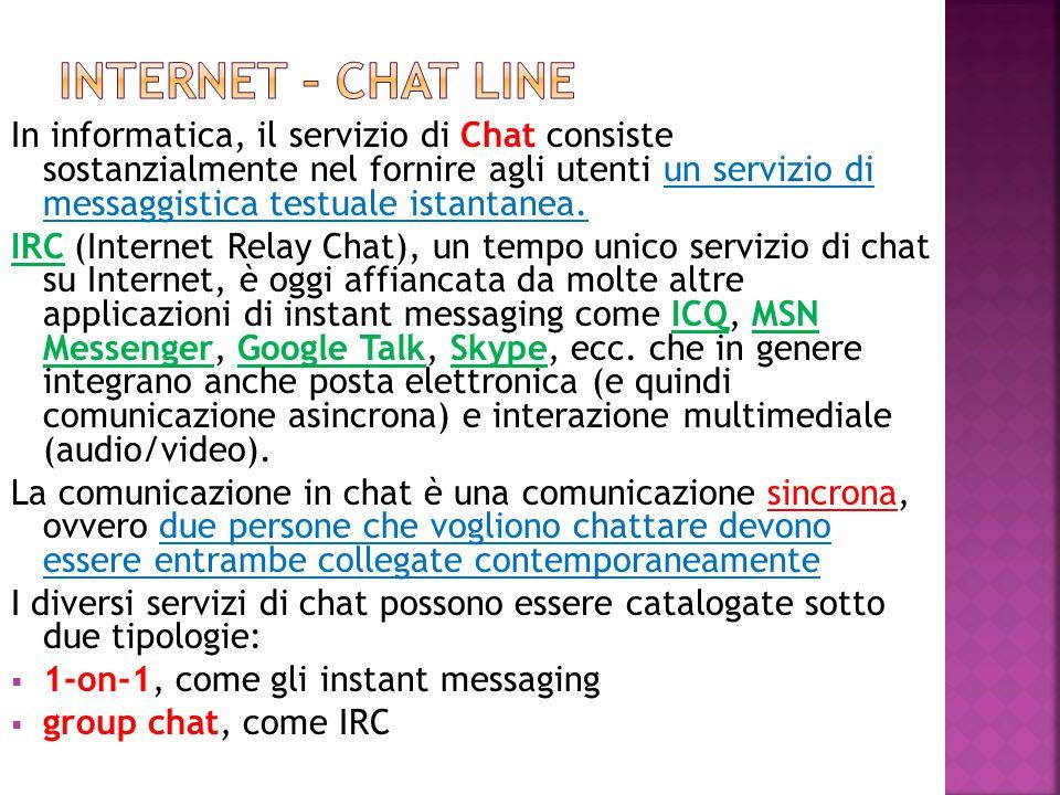 In informatica, il servizio di Chat consiste sostanzialmente nel fornire agli utenti un servizio di messaggistica testuale istantanea. IRC (Internet R