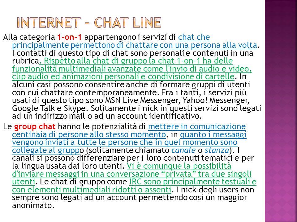 Alla categoria 1-on-1 appartengono i servizi di chat che principalmente permettono di chattare con una persona alla volta. I contatti di questo tipo d