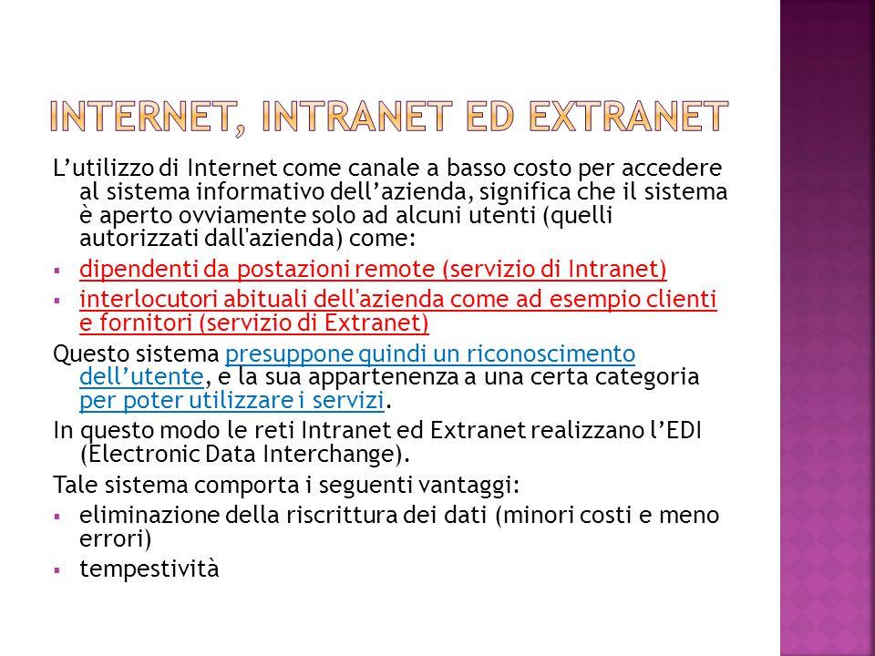 L'utilizzo di Internet come canale a basso costo per accedere al sistema informativo dell'azienda, significa che il sistema è aperto ovviamente solo a