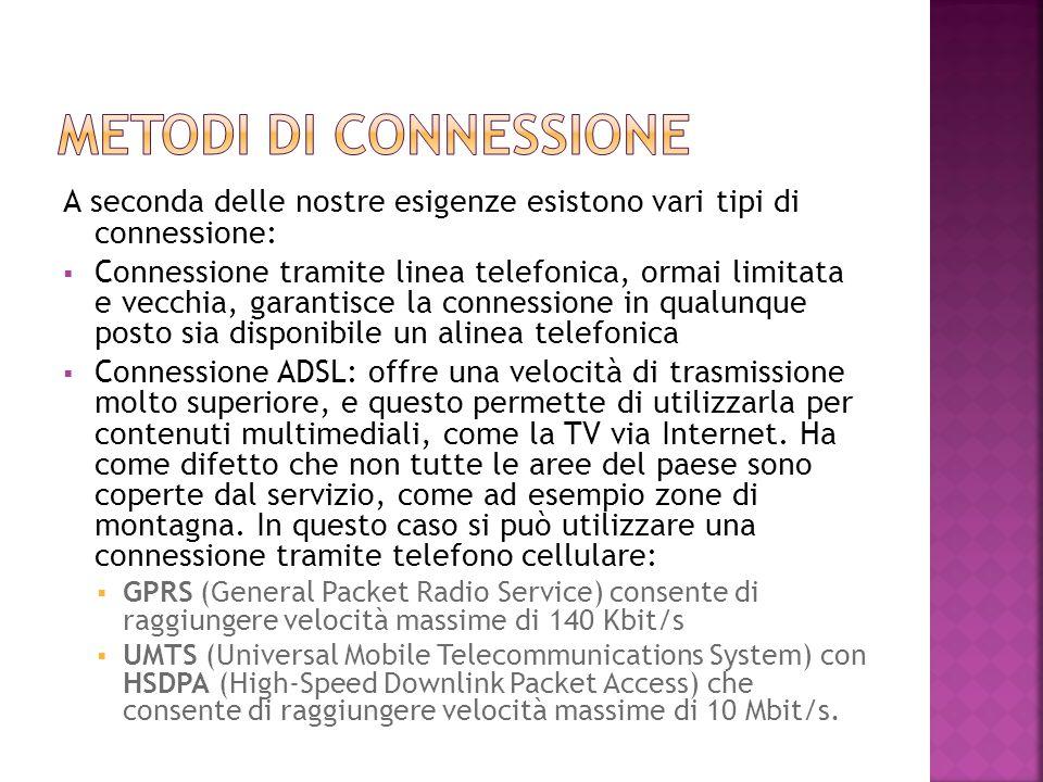 A seconda delle nostre esigenze esistono vari tipi di connessione:  Connessione tramite linea telefonica, ormai limitata e vecchia, garantisce la con