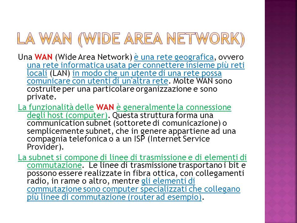 Una WAN (Wide Area Network) è una rete geografica, ovvero una rete informatica usata per connettere insieme più reti locali (LAN) in modo che un utent