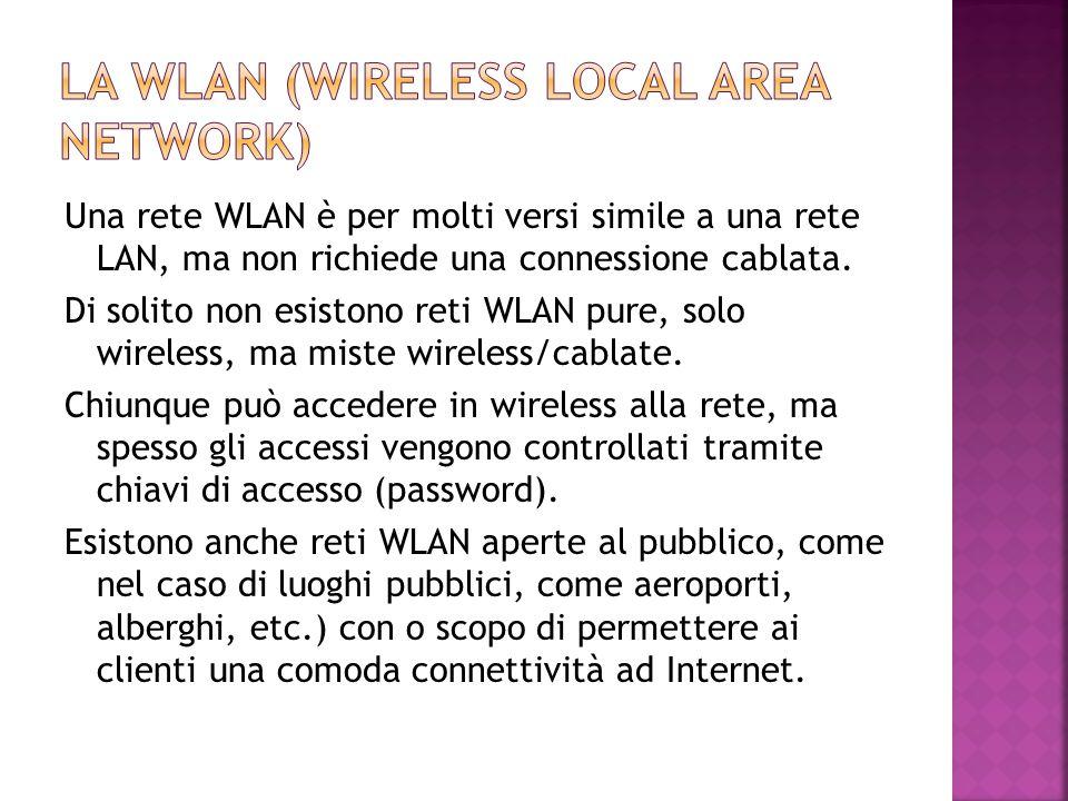 Una rete WLAN è per molti versi simile a una rete LAN, ma non richiede una connessione cablata. Di solito non esistono reti WLAN pure, solo wireless,