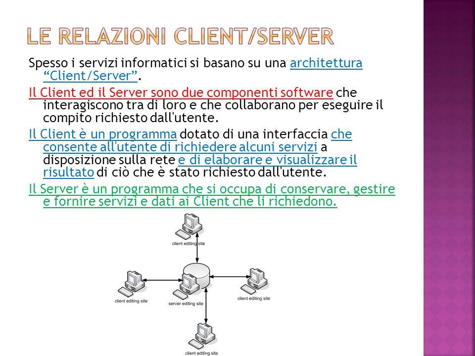"""Spesso i servizi informatici si basano su una architettura """"Client/Server"""". Il Client ed il Server sono due componenti software che interagiscono tra"""