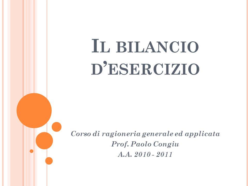 I L BILANCIO D ' ESERCIZIO Corso di ragioneria generale ed applicata Prof. Paolo Congiu A.A. 2010 - 2011