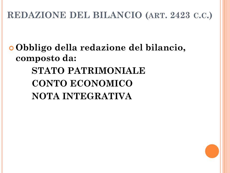 REDAZIONE DEL BILANCIO ( ART. 2423 C. C.) Obbligo della redazione del bilancio, composto da: STATO PATRIMONIALE CONTO ECONOMICO NOTA INTEGRATIVA