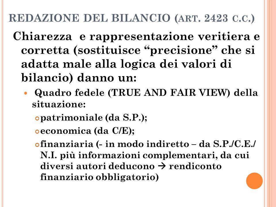 """REDAZIONE DEL BILANCIO ( ART. 2423 C. C.) Chiarezza e rappresentazione veritiera e corretta (sostituisce """"precisione"""" che si adatta male alla logica d"""