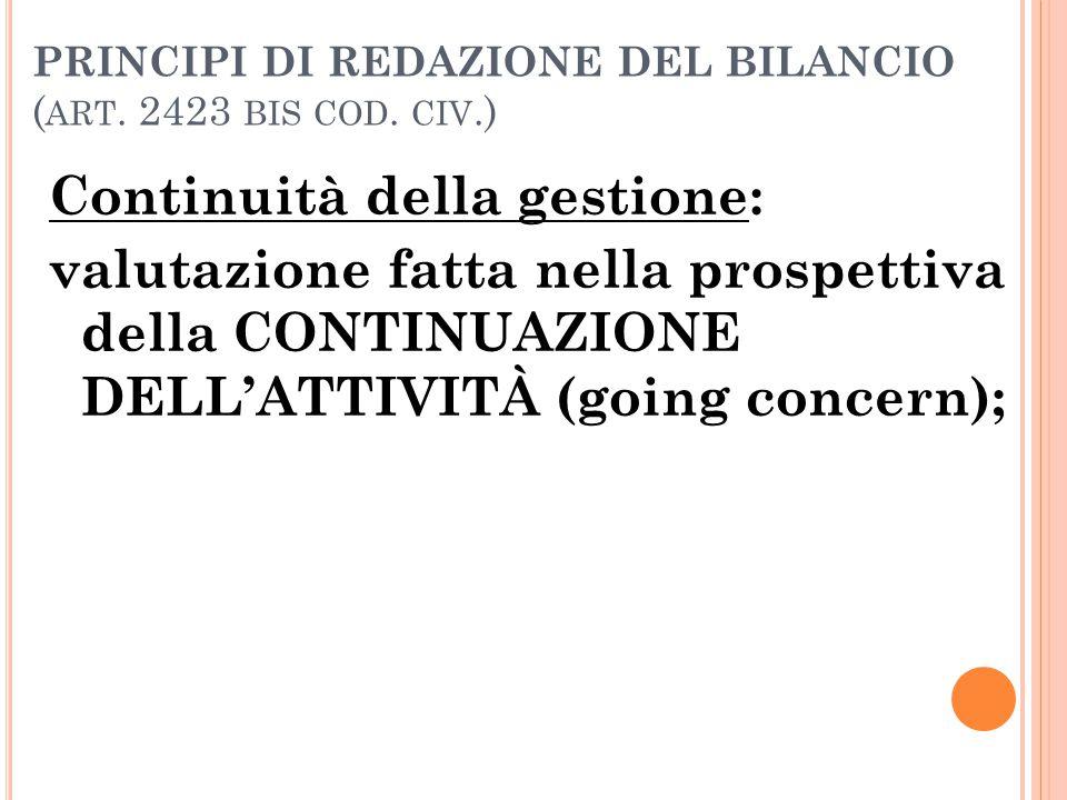 PRINCIPI DI REDAZIONE DEL BILANCIO ( ART. 2423 BIS COD. CIV.) Continuità della gestione: valutazione fatta nella prospettiva della CONTINUAZIONE DELL'