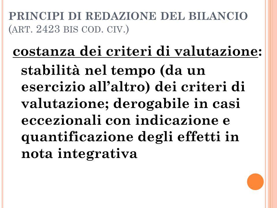 PRINCIPI DI REDAZIONE DEL BILANCIO ( ART. 2423 BIS COD. CIV.) costanza dei criteri di valutazione: stabilità nel tempo (da un esercizio all'altro) dei
