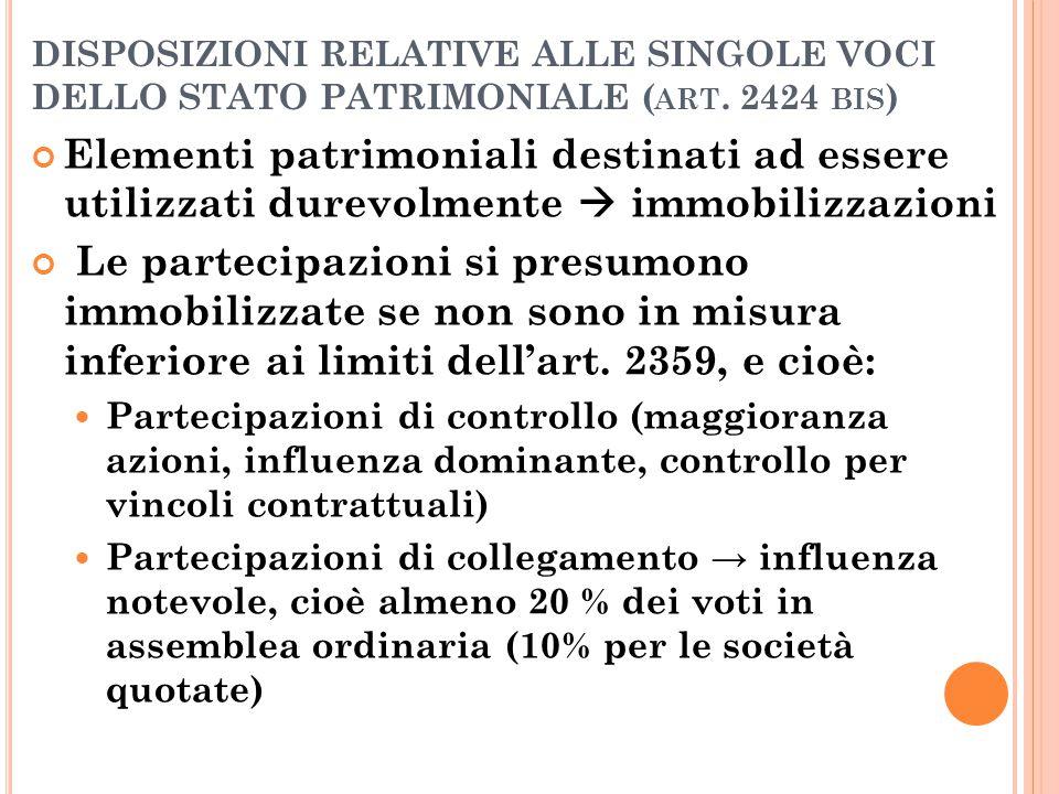 DISPOSIZIONI RELATIVE ALLE SINGOLE VOCI DELLO STATO PATRIMONIALE ( ART. 2424 BIS ) Elementi patrimoniali destinati ad essere utilizzati durevolmente 