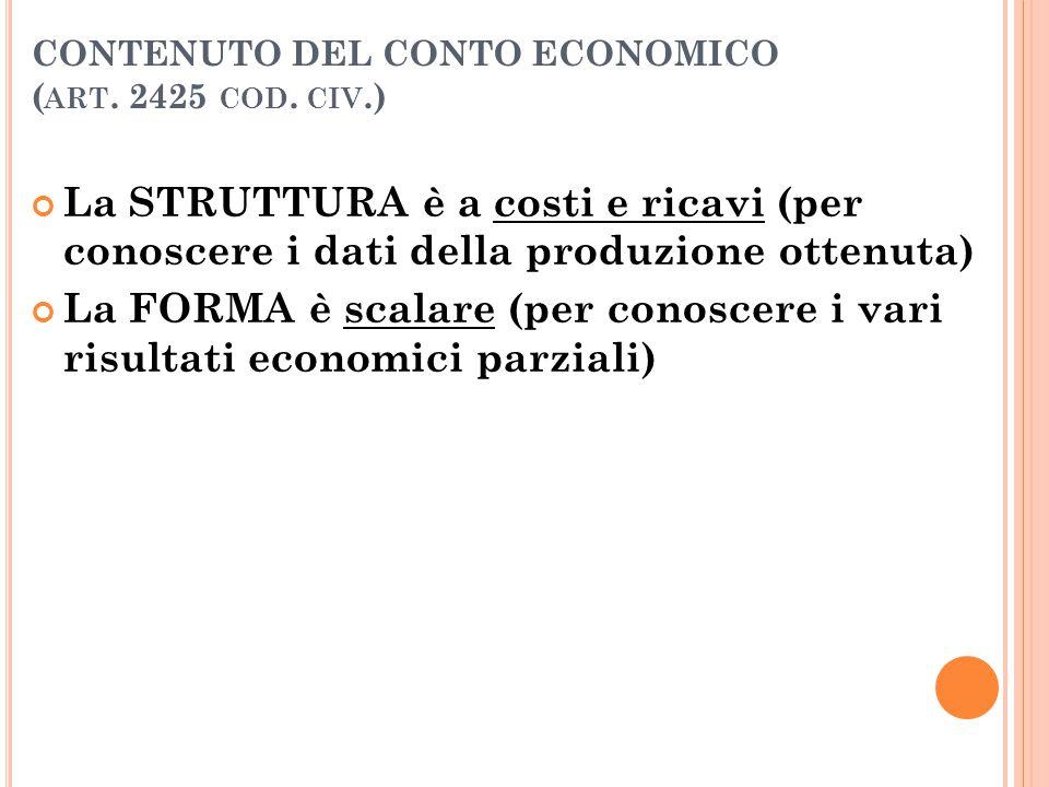 CONTENUTO DEL CONTO ECONOMICO ( ART. 2425 COD. CIV.) La STRUTTURA è a costi e ricavi (per conoscere i dati della produzione ottenuta) La FORMA è scala