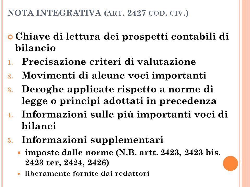 NOTA INTEGRATIVA ( ART. 2427 COD. CIV.) Chiave di lettura dei prospetti contabili di bilancio 1. Precisazione criteri di valutazione 2. Movimenti di a