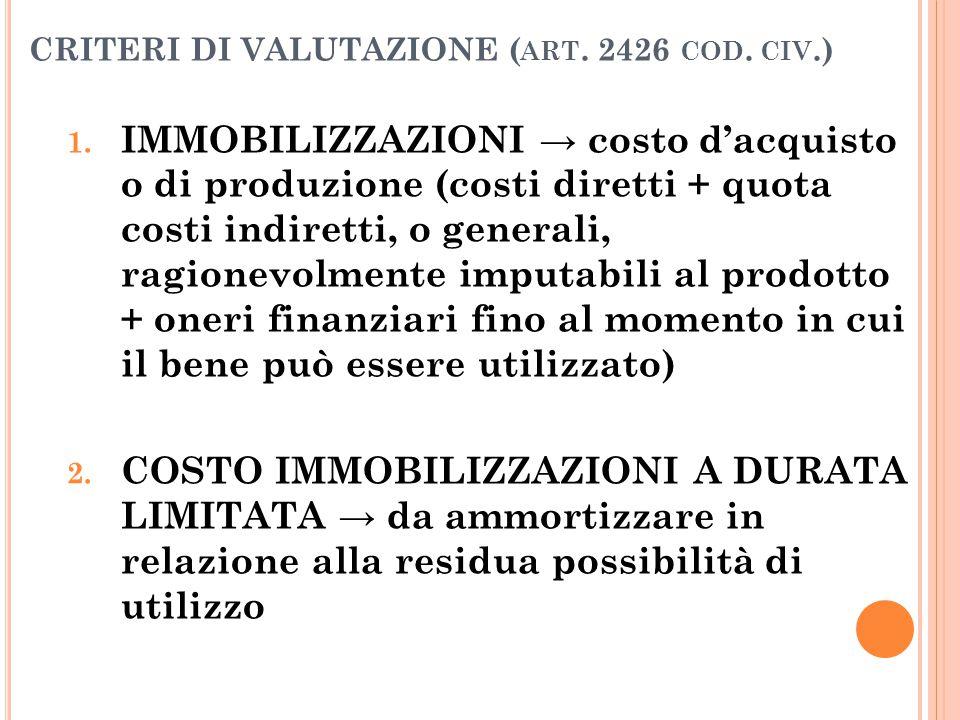 CRITERI DI VALUTAZIONE ( ART. 2426 COD. CIV.) 1. IMMOBILIZZAZIONI → costo d'acquisto o di produzione (costi diretti + quota costi indiretti, o general