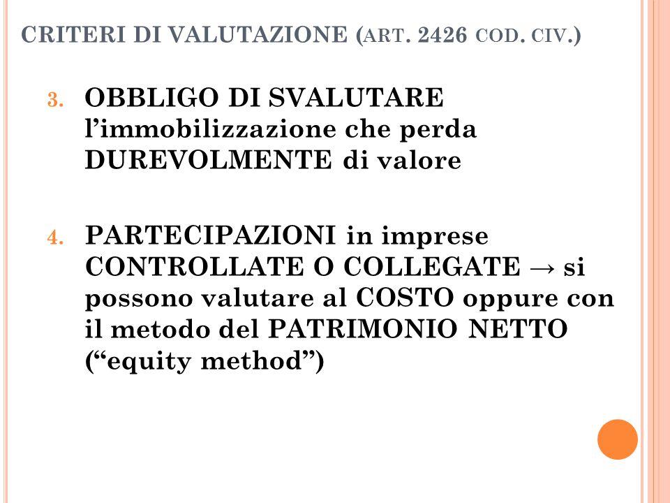 CRITERI DI VALUTAZIONE ( ART. 2426 COD. CIV.) 3. OBBLIGO DI SVALUTARE l'immobilizzazione che perda DUREVOLMENTE di valore 4. PARTECIPAZIONI in imprese