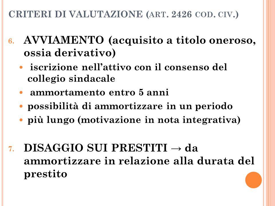 CRITERI DI VALUTAZIONE ( ART. 2426 COD. CIV.) 6. AVVIAMENTO (acquisito a titolo oneroso, ossia derivativo) iscrizione nell'attivo con il consenso del