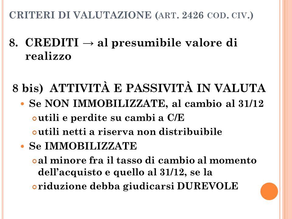 CRITERI DI VALUTAZIONE ( ART. 2426 COD. CIV.) 8. CREDITI → al presumibile valore di realizzo 8 bis) ATTIVITÀ E PASSIVITÀ IN VALUTA Se NON IMMOBILIZZAT