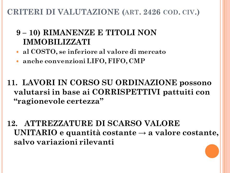 CRITERI DI VALUTAZIONE ( ART. 2426 COD. CIV.) 9 – 10) RIMANENZE E TITOLI NON IMMOBILIZZATI al COSTO, se inferiore al valore di mercato anche convenzio