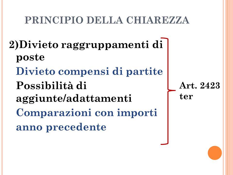 PRINCIPIO DELLA CHIAREZZA 2)Divieto raggruppamenti di poste Divieto compensi di partite Possibilità di aggiunte/adattamenti Comparazioni con importi a